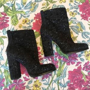 GUESS Black & Blue Sparkly High Heel Boots